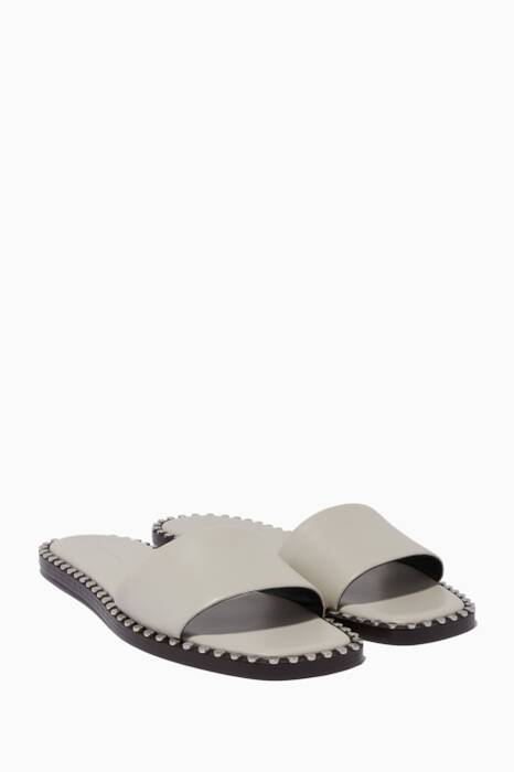 Light-Grey Lola Studded Flat Sandal