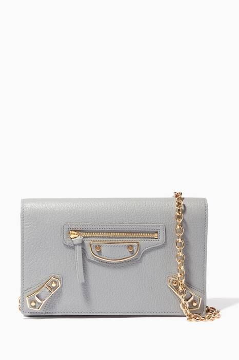 Light-Grey Metallic Edge Wallet Shoulder Bag