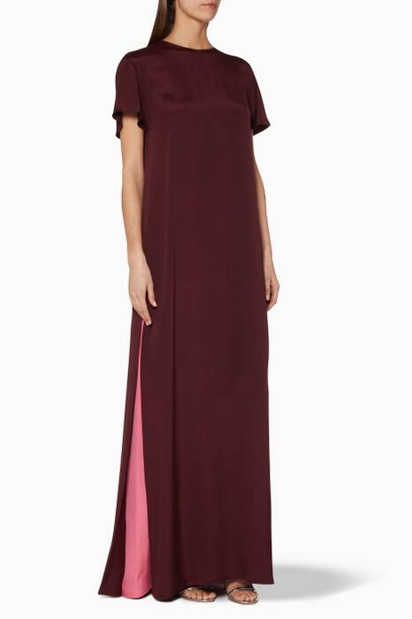 Burgundy Crochet Detailed Gown