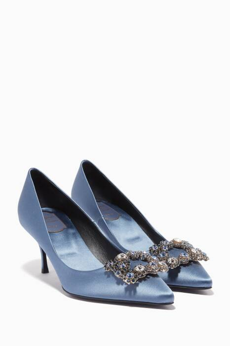 Dove-Blue Flower Strass Embellished Pumps