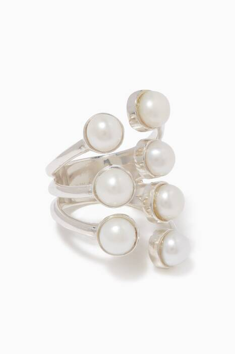 Silver & Pearl Open Ring