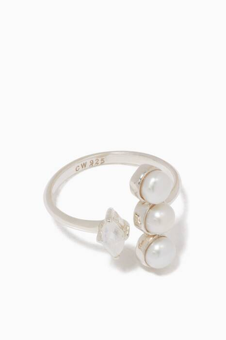 Silver Pearl & Moonstone Open Ring