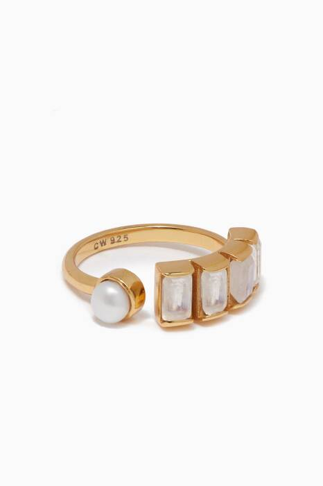 Gold, Pearl & Moonstone Open Ring