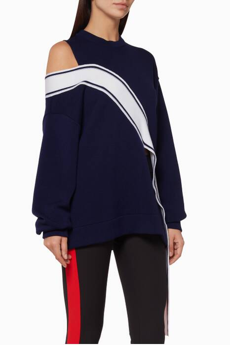Dark Blue Racing Stripe Sweatshirt