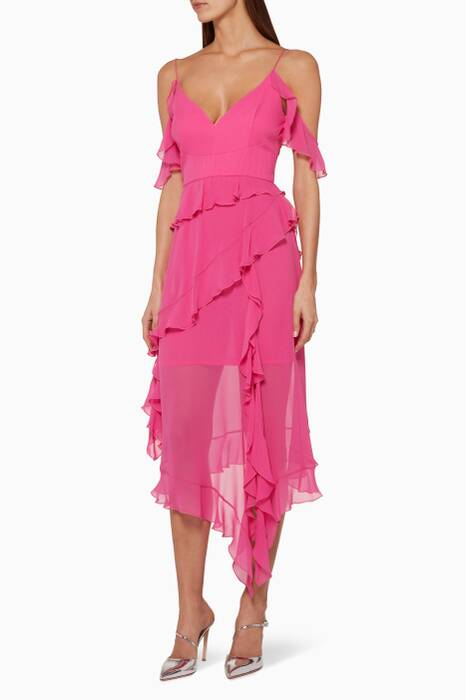 Fuchsia Georgette Frill Dress