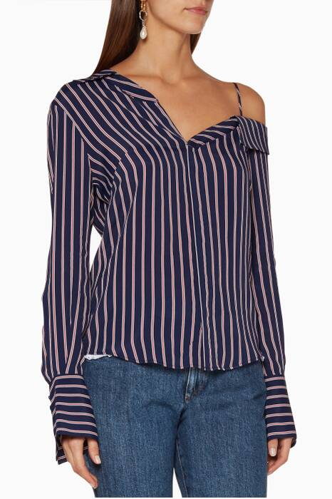 Navy & Red Pinstripe Shirt