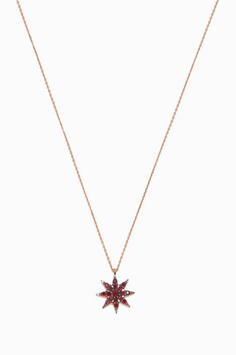 Rose-Gold & Blue Venus Star Ruby Necklace