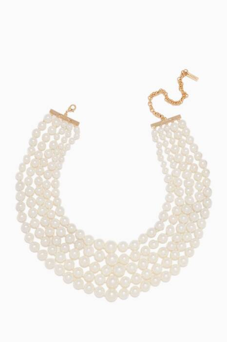 White Monarch Pearl Choker Bib Necklace