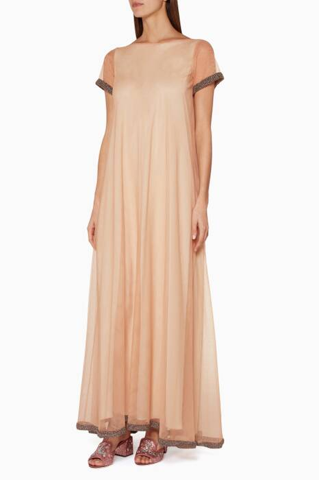 Nude Beaded Tulle Dress