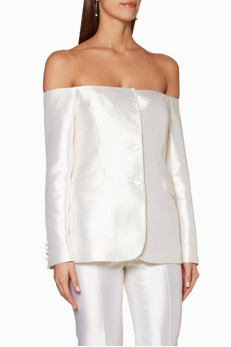 White Off-The-Shoulder Dorothea Blazer