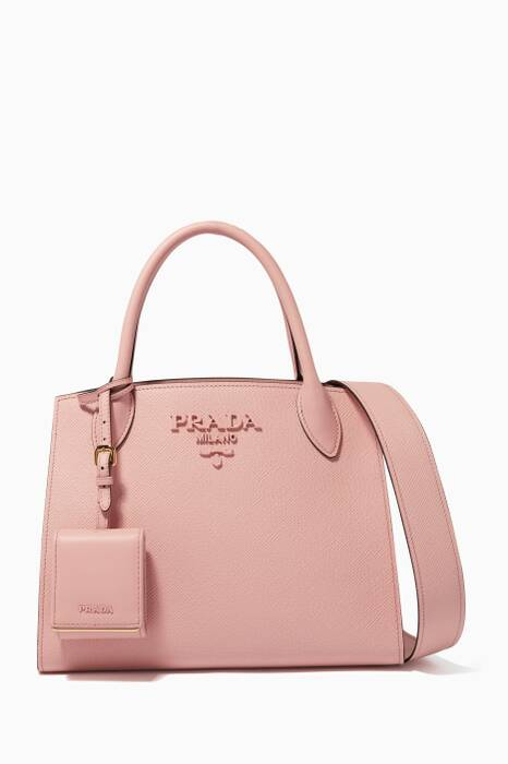 Pink Small Monochrome Saffiano Tote Bag