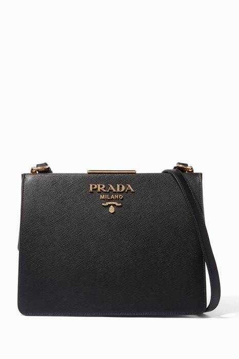 Black Frame Saffiano Small Shoulder Bag