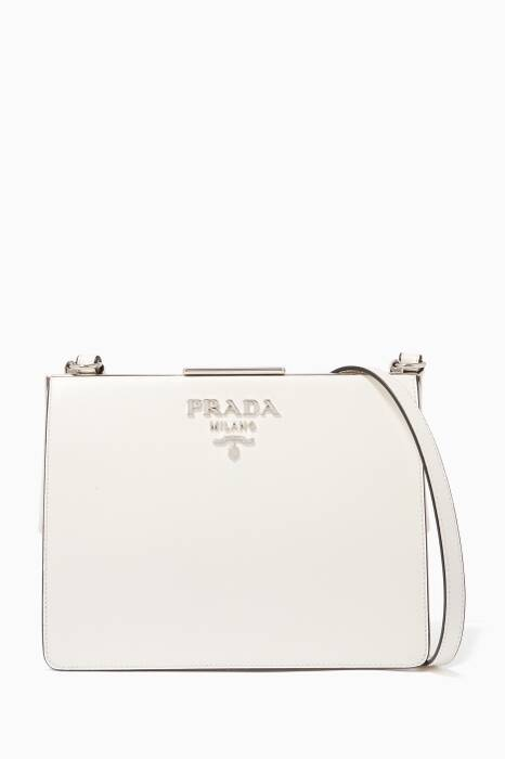 White Small Saffiano Frame Shoulder Bag