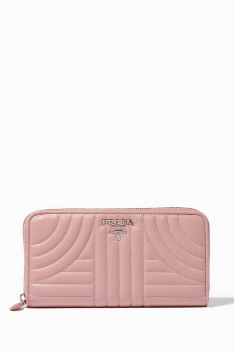 Pink Quilted-Leather Zip-Around Wallet