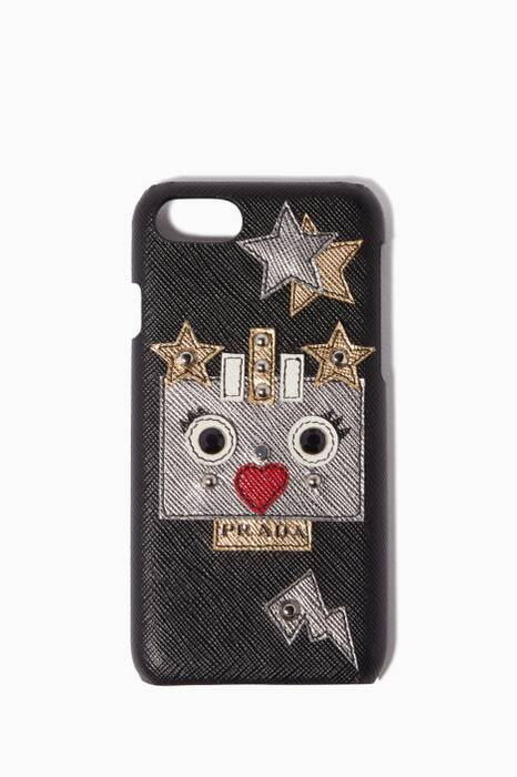 Black & Silver Saffiano Robot Heart iPhone® Case