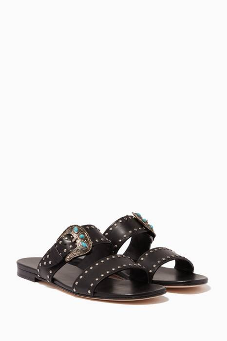 Black Buckled Square-Toe Sandals