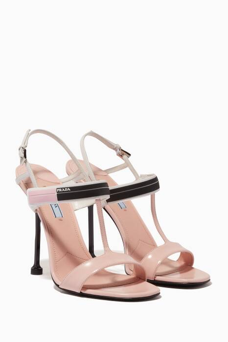 Pastel-Pink Buckled Square-Toe Sandals