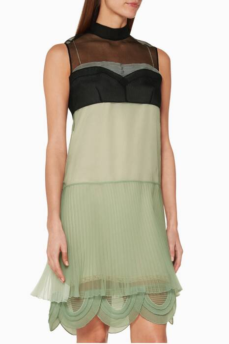 Pastel-Green Scallop Hem Dress