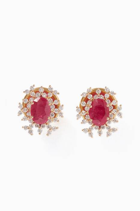 Yellow-Gold, Diamond & Ruby Spectrum Earrings