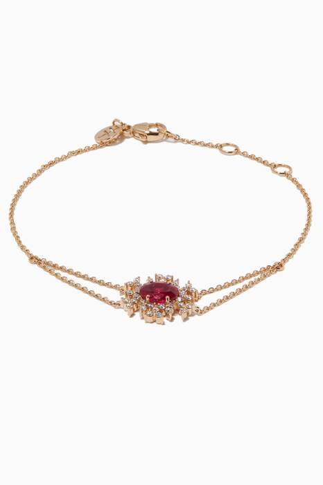 Yellow-Gold, Ruby & Diamond Spectrum Bracelet