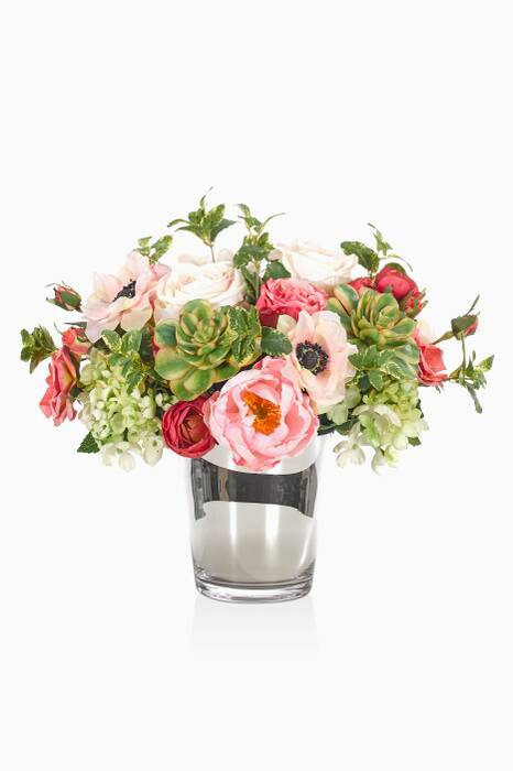 Pink Rose Bouquet With Mirrored Cylinder Vase