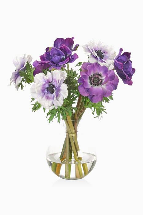 Purple Anemone Bouquet With Glass Decanter Vase