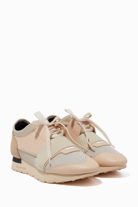 Cream Race Runner Low-Top Sneakers