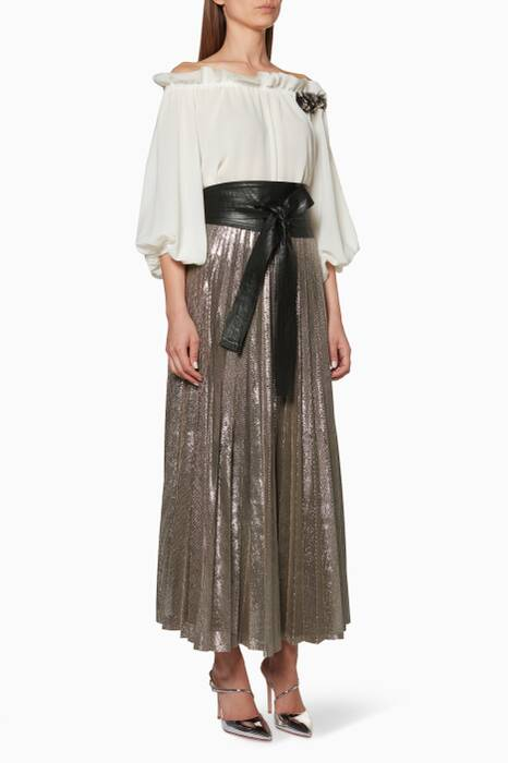 Off-White & Grey Blouse & Lamey Pleated Skirt