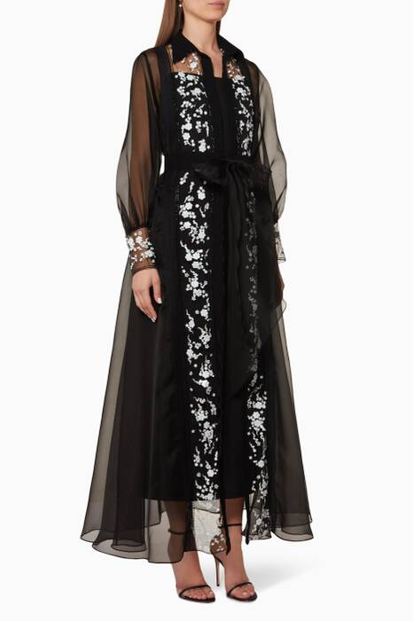 Black Organza Embroidered Kaftan