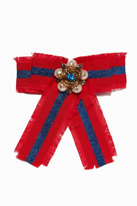 Multi-Colour Web Grosgrain Bow Brooch