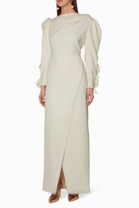 White Textured Crepe Gown