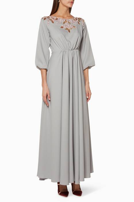Grey Crystal Embellished Kaftan