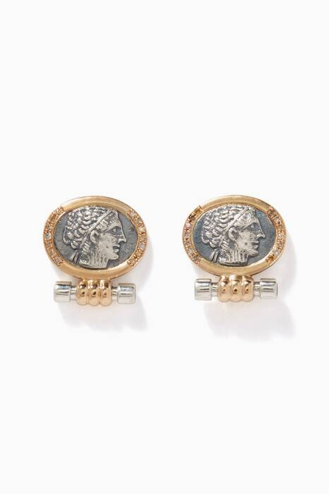 Silver & Gold Greek Coin Stud Earrings