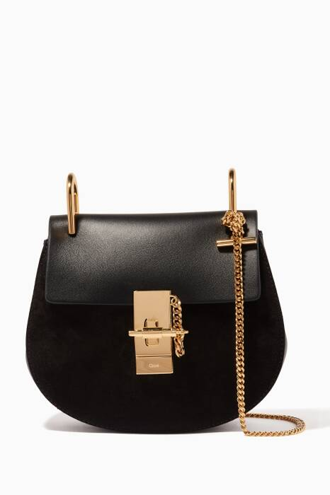 Black Suede & Leather Mini Drew Bag