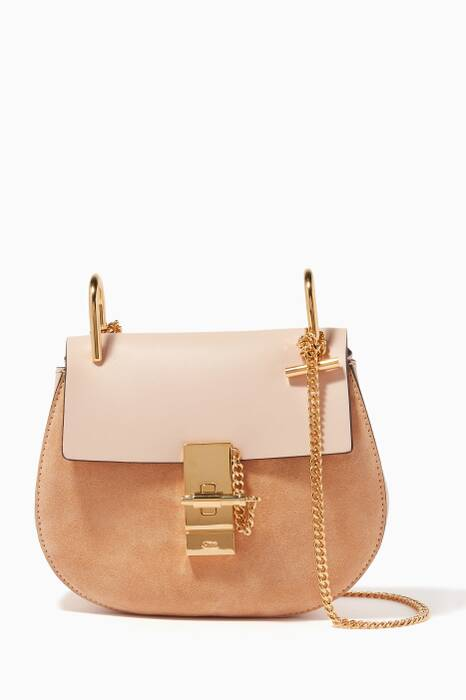 Cement Pink Suede & Leather Mini Drew Bag