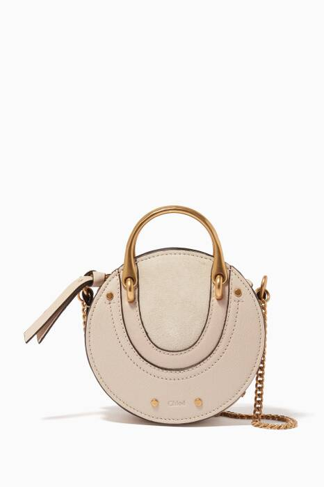 Abstract White Mini Pixie Suede Leather Cross-Body Bag