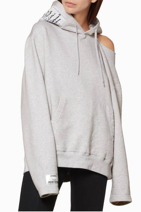 Grey Open Off-The-Shoulder Hoodie