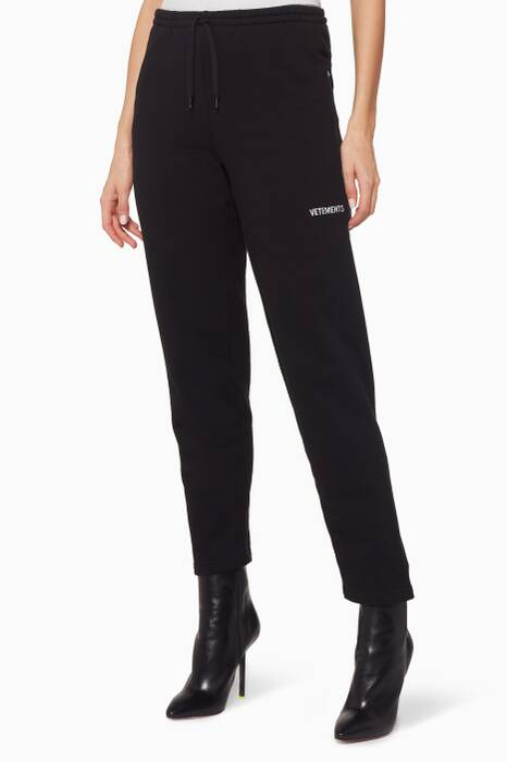 Black Embroidered Cotton Track Pants