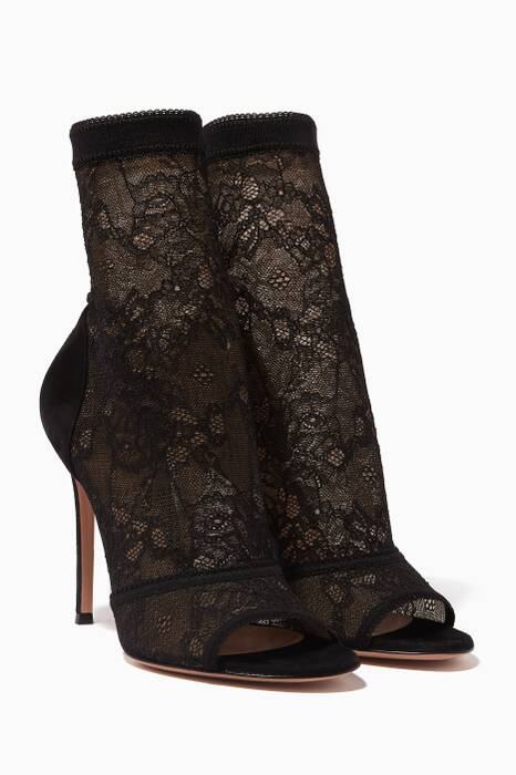 Black Stretch Lace Booties