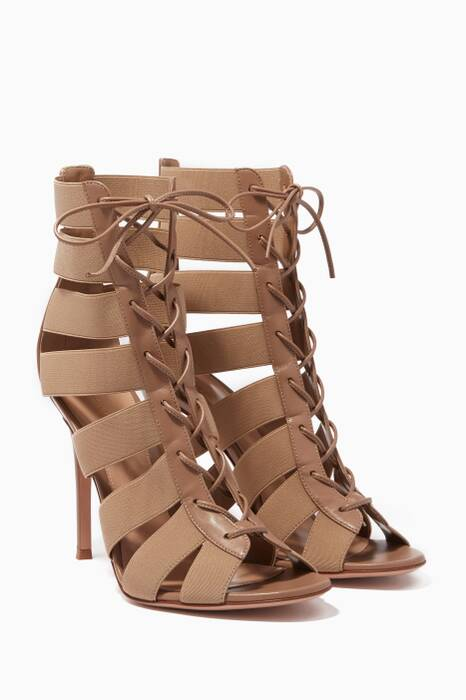 Light-Beige Cage Leather Sandals
