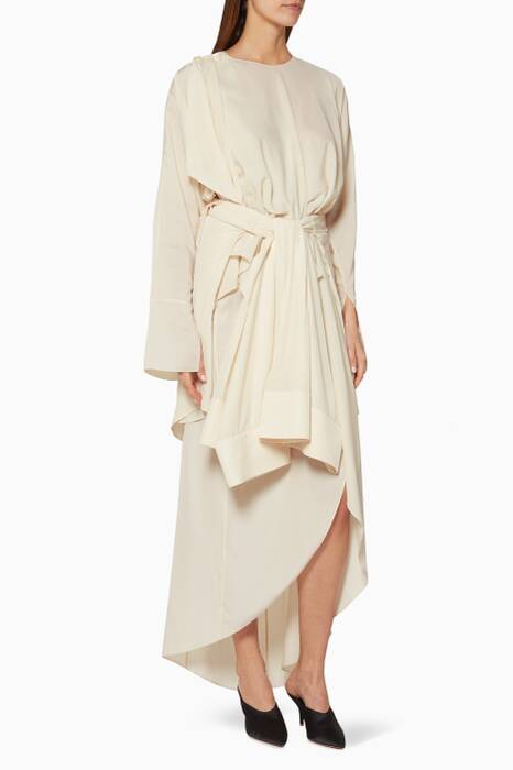 Cream Kimono-Belt Draped Dress