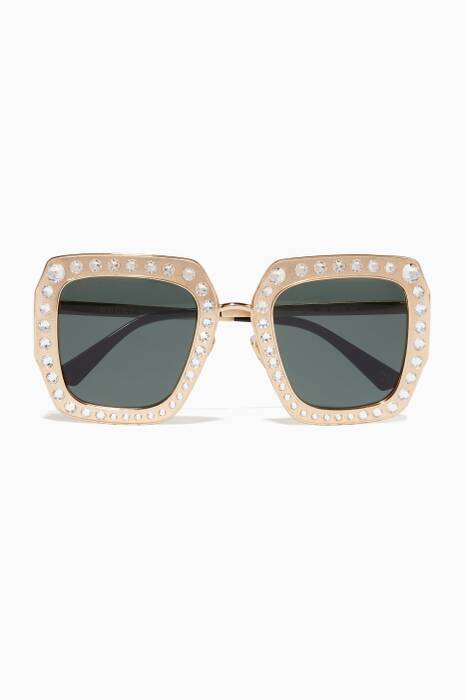Gold Crystal Square-Frame Sunglasses