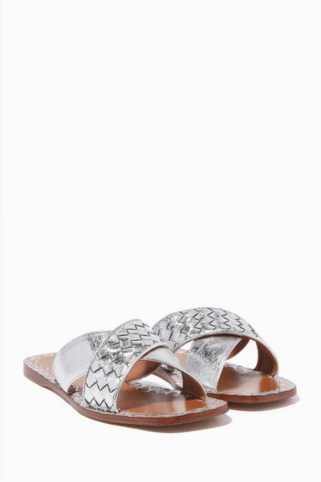 Metallic-Bronze Criss-Cross Ravello Sandals