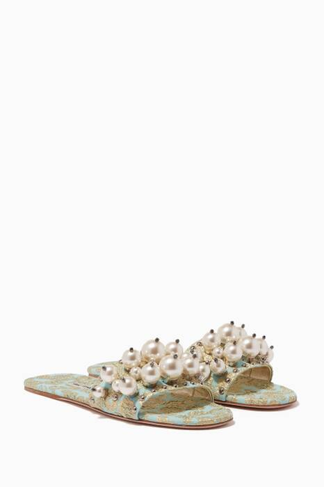 Light-Green Embellished Brocade Slides