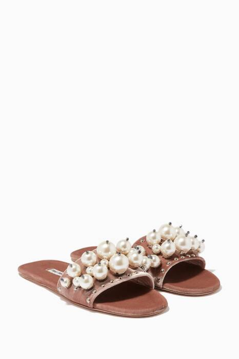 Light-Beige Velvet Pearl Embellished Slides