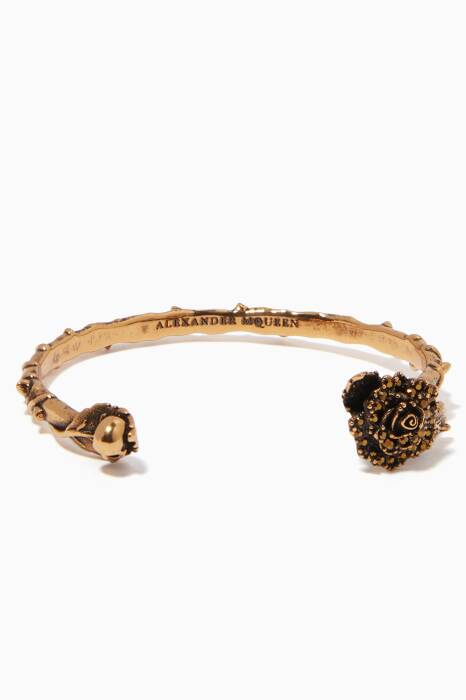 Gold English Rose Cuff Bracelet