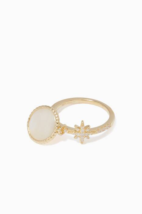 Gold Star & Pearl Ring