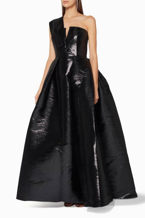 Black One-Shouldered Blaine Gown