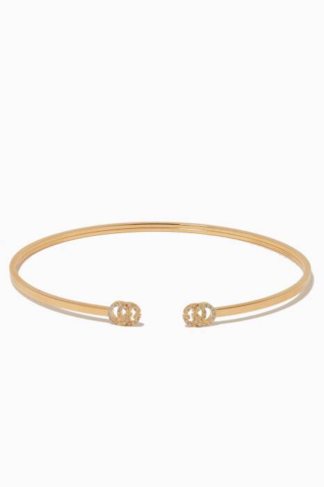 Yellow-Gold & Diamond Extra-Small Double G Cuff
