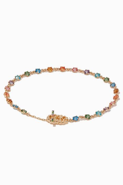 Yellow-Gold & Multi-Coloured Stone Bracelet